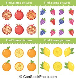 Children s educational game. Find two same pictures. Vector illustration.