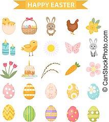 Easter icon set, flat style. Isolated on white background. Vector illustration.