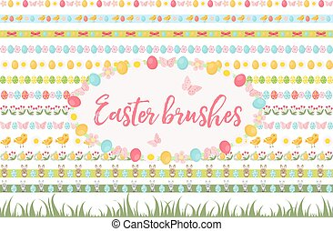 Easter borders, ornament, garland set. Banner with grass, eggs, flowers and other elements. Vector illustration, clip art.
