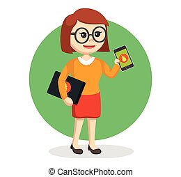 geek girl with laptop and smartphone