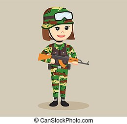 army woman with rifle