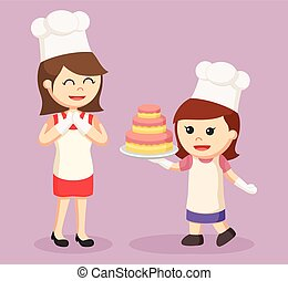mom and daughter making cake