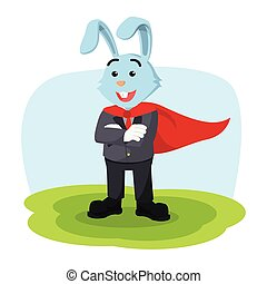 business rabbit hero illustration design