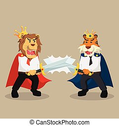 business king lion duel with business king tiger