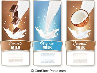 Set of three labels of chocolate and coconut milk splashes....