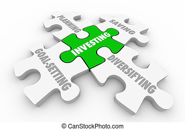Investing Stocks Bonds Grow Wealth Puzzle Strategy 3d Illustration