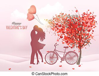 Valentine's Day background with a kissing couple silhouette, heart shaped tree and a box. Vector.