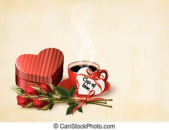 Holiday Valentine`s day background. Red roses with red heart-shaped gift box. Vector