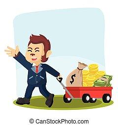 business monkey pulling cart full of money