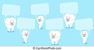 tooth wear brace take billboard - cute cartoon tooth wear...