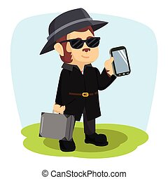 detective monkey holding handphone