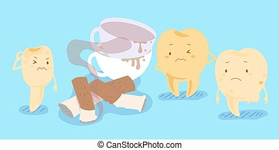 cartoon yellow tooth