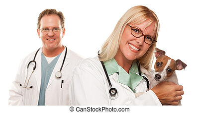 Female Veterinarian Doctors with Small Puppy - Attractive...