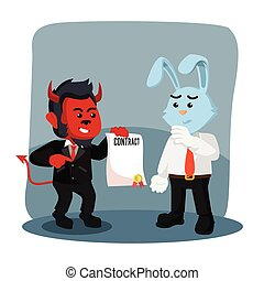 business monkey evil offering contract to business rabbit