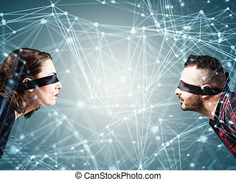 System of interconnection of social network - Woman and man...