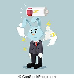 business rabbit exhausted with low battery