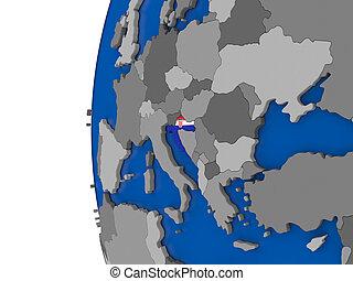 Croatia on globe - Map of Croatia with its flag on globe. 3D...