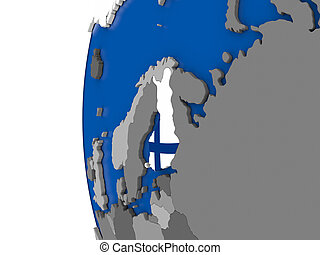 Finland on globe - Map of Finland with its flag on globe. 3D...