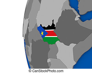 South Sudan on globe - Map of South Sudan with its flag on...