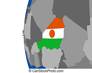 Niger on globe - Map of Niger with its flag on globe. 3D...