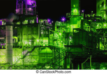 raffineria, olio, fabbrica, notte