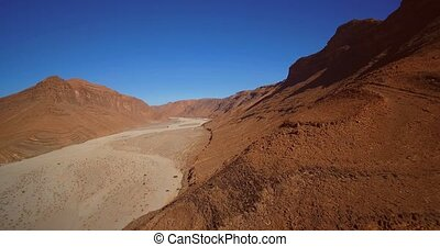 Aerial, Mountainous And Stony Desert At Tamessoult, Morocco-...