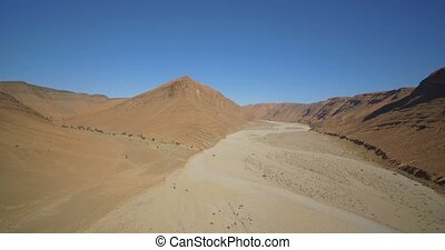 Aerial, Mountainous And Stony Desert At Tamessoult, Morocco...