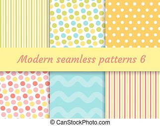 Polka dot, strips wave seamless pattern set. Digital Paper...