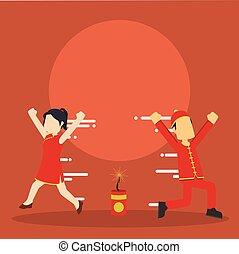 chinese boy chinese girl running away from firecracker
