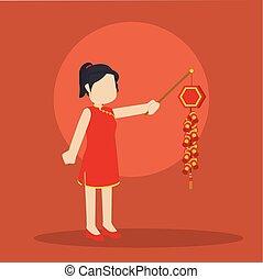 chinese girl holding chinese firecracker
