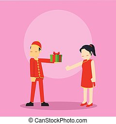 chinese man embarrassed while giving present to chinese girl
