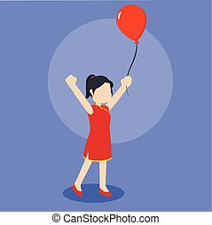 chinese girl playing balloon