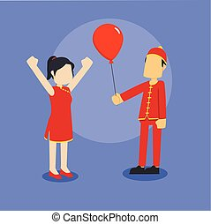 chinese boy giving balloon to chinese girl