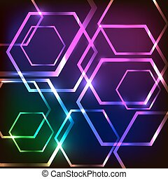 Abstract glowing background with hexagons