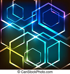 Abstract colorful glowing background with hexagons