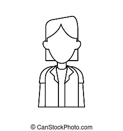 woman doctor occupational medical work outline vector...