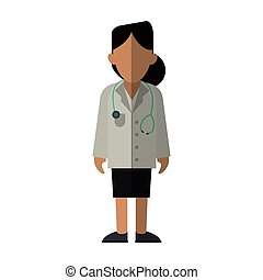 woman doctor therapist stethoscope diagnosis vector...
