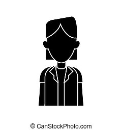 silhouette woman doctor occupational medical work vector...