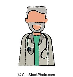 cartoon character doctor beard stethoscope health