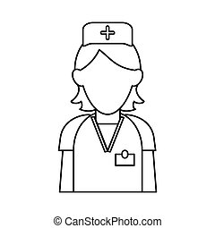 nurse staff care clinic uniform hat cross outline vector...