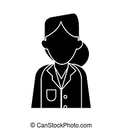 silhouette woman doctor therapist diagnosis vector...