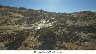 Aerial, Offroad Fun At The Blue Painted Rocks, Valle de...