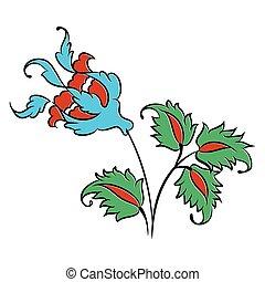 Iznik style rose drawing