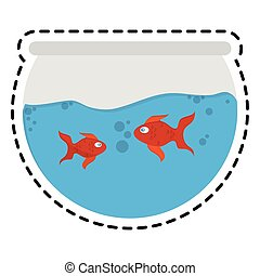 fishbowl cartoon icon over white background. colorful...