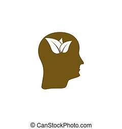 Green thinking head icon vector, solid illustration, pictogram isolated