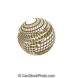 Wire-frame Design Element. Sphere stock vector illustration