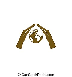 Hand protecting water stock vector