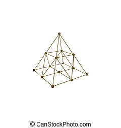 Wire frame shape. Pyramid with connected lines and dots....