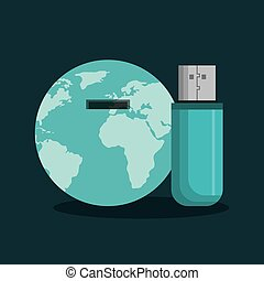 usb memory flash icon - usb memory flash with world planet...