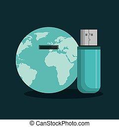 usb memory flash icon - usb memory flash with world planet...